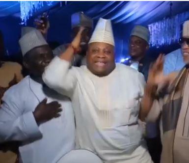 Pure Excitement As Dancing Senator, Adeleke Takes The  Floor At Dangote's Daughter's Wedding (Video)