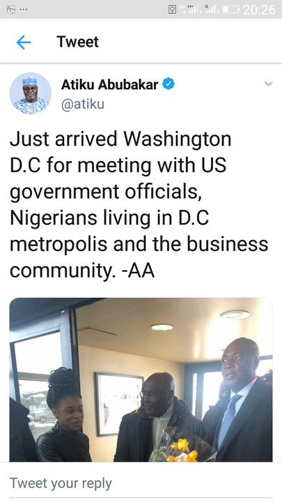 Atiku Just Arrived WASHINGTON DC UNITED STATES OF AMERICA- PICTURES