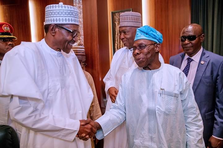 OBJ And Buhari All Smiles As They Meet Inside Aso Rock (Photos)