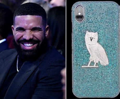 Rapper Drake Buys N144million Diamond Encrusted iPhone Case (Photo)