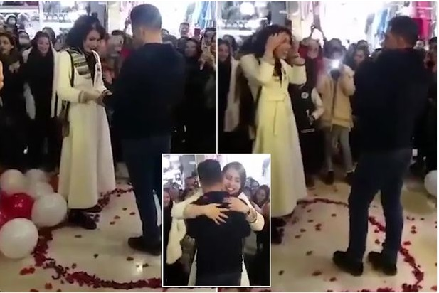 Young Couple Arrested After Proposing In A Shopping Mall (Video)