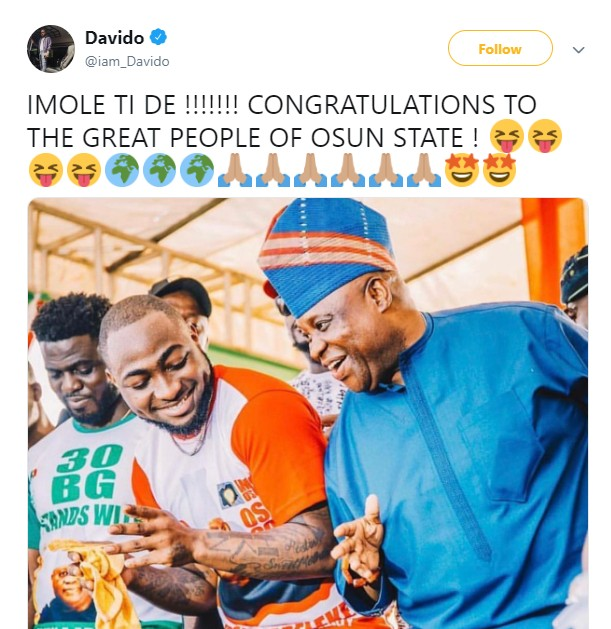 Osun Election: Davido Reacts To Ademola Adeleke's Victory At Tribunal