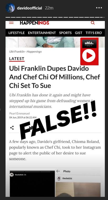 Davido Debunks Rumor Of Ubi Franklin Scamming Him And Chioma