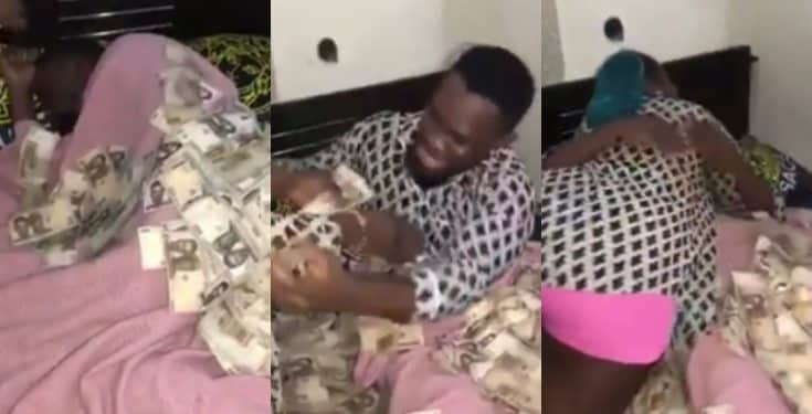 Nigerian Woman Allegedly Sprays Her Husband N500,000 On His Birthday (Video)