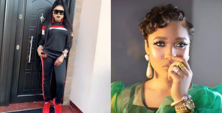 Tonto Dikeh Reacts After Youths Protested Against Bobrisky's Lifestyle