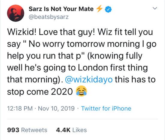 Sarz Call Wizkid A Chronic Liar - See His Response