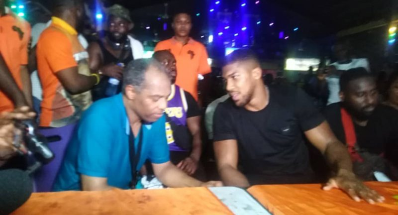 Wow! Anthony Joshua Storms The Afrika Shrine, Prostrates To High Priest, Femi Kuti (Video)
