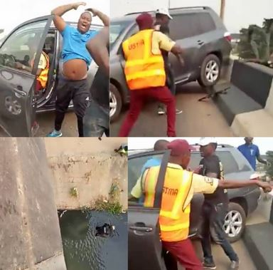 Watch The Moment A Driver Tried To Escape Arrest From LASTMA Officials And Hit A Police Officer Off A Bridge In Lagos ( Video )